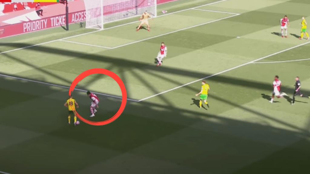 Takehiro-Tomiyasu-back-foot-Arsenal-Analysis-vs-Norwich-City